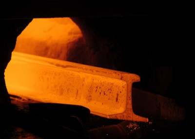 Rail coming out of furnace